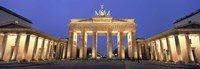 Low angle view of a gate lit up at dusk, Brandenburg Gate, Berlin, Germany Fine Art Print