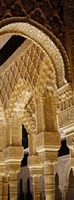 """Low angle view of carving on arches and columns of a palace, Court Of Lions, Alhambra, Granada, Andalusia, Spain by Panoramic Images - 9"""" x 27"""""""