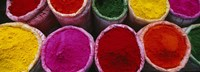 High angle view of various powder paints, Braj, Mathura, Uttar Pradesh, India Fine Art Print