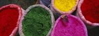 High angle view of various tika powders, Braj, Mathura, Uttar Pradesh, India Fine Art Print