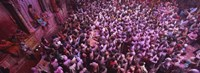 "High angle view of people celebrating holi, Braj, Mathura, Uttar Pradesh, India by Panoramic Images - 27"" x 9"""