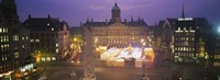 High angle view of a town square lit up at dusk, Dam Square, Amsterdam, Netherlands Fine Art Print