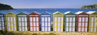 """Beach huts in a row on the beach, Catalonia, Spain by Panoramic Images - 27"""" x 9"""", FulcrumGallery.com brand"""