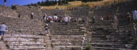 """Tourists at old ruins of an amphitheater, Odeon, Ephesus, Turkey by Panoramic Images - 27"""" x 9"""""""