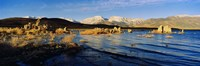 Lake with mountains in the background, Mono Lake, Eastern Sierra, Californian Sierra Nevada, California, USA Fine Art Print