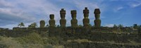 "Moai statues in a row, Rano Raraku, Easter Island, Chile by Panoramic Images - 27"" x 9"""