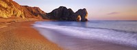 "Rock formations on the seaside, Durdle Door, Dorset, England by Panoramic Images - 27"" x 9"""