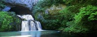 "Waterfall in a forest, Lison River, Jura, France by Panoramic Images - 27"" x 9"""