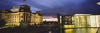 "Buildings lit up at night, The Reichstag, Spree River, Berlin, Germany by Panoramic Images - 27"" x 9"""
