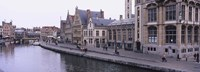 """Buildings along the river, Leie River, Graslei, Ghent, Belgium by Panoramic Images - 27"""" x 9"""""""