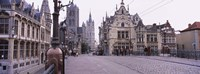 """Tourists walking in front of a church, St. Nicolas Church, Ghent, Belgium by Panoramic Images - 27"""" x 10"""""""