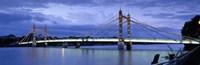 "Suspension bridge across a river, Thames River, Albert Bridge, London, England by Panoramic Images - 27"" x 9"""
