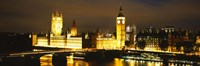 Buildings lit up at night, Westminster Bridge, Big Ben, Houses Of Parliament, Westminster, London, England Fine Art Print