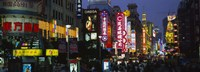 """Group of people walking on the road, Nanjing Road, Shanghai, China by Panoramic Images - 27"""" x 9"""""""