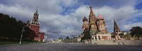 """Low angle view of a cathedral, St. Basil's Cathedral, Spasskaya Tower, Kremlin, Moscow, Russia by Panoramic Images - 27"""" x 9"""""""