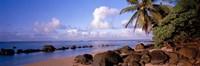 Rocks on the beach, Anini Beach, Kauai, Hawaii, USA Fine Art Print