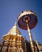 """Golden Chedi, Wat Phrathat Doi Suthep, Chiang Mai Province, Thailand by Panoramic Images - 9"""" x 27"""", FulcrumGallery.com brand"""