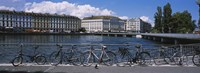 Buildings at the waterfront, Rhone River, Geneva, Switzerland Fine Art Print