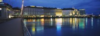 """Buildings lit up at night, Geneva, Switzerland by Panoramic Images - 27"""" x 9"""", FulcrumGallery.com brand"""