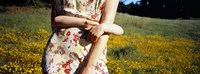 """Mid section view of a girl hugging her mother in a field, Marin County, California, USA by Panoramic Images - 27"""" x 9"""""""