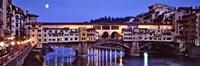 Bridge across a river, Arno River, Ponte Vecchio, Florence, Tuscany, Italy Fine Art Print