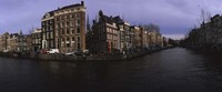 """Buildings along a canal, Amsterdam, Netherlands by Panoramic Images - 27"""" x 9"""", FulcrumGallery.com brand"""