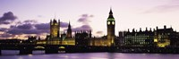 """Buildings lit up at dusk, Big Ben, Houses of Parliament, Thames River, City Of Westminster, London, England by Panoramic Images - 27"""" x 9"""", FulcrumGallery.com brand"""