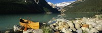 """Canoe at the lakeside, Lake Louise, Banff National Park, Alberta, Canada by Panoramic Images - 27"""" x 9"""""""