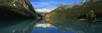 """Reflection of mountains in water, Lake Louise, Banff National Park, Alberta, Canada by Panoramic Images - 27"""" x 9"""""""
