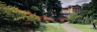 """Man standing in a formal garden near an art museum, National Gallery of Scotland, Edinburgh, Scotland by Panoramic Images - 27"""" x 9"""""""