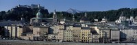 """Buildings in a city with a fortress in the background, Hohensalzburg Fortress, Salzburg, Austria by Panoramic Images - 27"""" x 9"""", FulcrumGallery.com brand"""