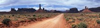"""Dirt road through desert landscape with sandstone formations, Utah. by Panoramic Images - 27"""" x 9"""""""