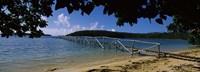 Wooden dock over the sea, Vava'u, Tonga, South Pacific Fine Art Print