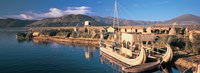 """Reed Boats at the lakeside, Lake Titicaca, Floating Island, Peru by Panoramic Images - 27"""" x 9"""""""