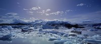 "Icebergs floating on water, Vatnajokull, Fjallsarlon, Jokulsarlon Lagoon, Iceland by Panoramic Images - 27"" x 9"""