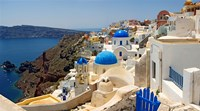 High angle view of a church, Oia, Santorini, Cyclades Islands, Greece Framed Print