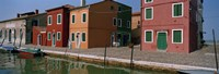 """Houses along a canal, Burano, Venice, Veneto, Italy by Panoramic Images - 27"""" x 9"""", FulcrumGallery.com brand"""