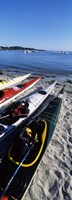 """Kayaks on the beach, Third Beach, Sakonnet River, Middletown, Newport County, Rhode Island (vertical) by Panoramic Images - 9"""" x 27"""""""