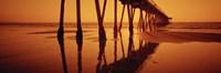 Silhouette of a pier at sunset, Hermosa Beach Pier, Hermosa Beach, California, USA Fine Art Print