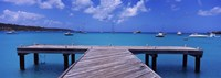 "Pier with boats in the background, Sandy Ground, Anguilla by Panoramic Images - 27"" x 9"""