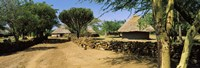 """Stone wall along a dirt road, Thimlich Ohinga, Lake Victoria, Great Rift Valley, Kenya by Panoramic Images - 27"""" x 9"""""""