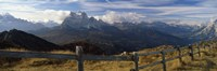 """Fence with a mountain range in the background, Mt Rite, Dolomites, Cadore, Province of Belluno, Veneto, Italy by Panoramic Images - 27"""" x 9"""""""