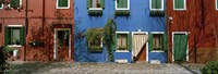 """Facade of houses, Burano, Veneto, Italy by Panoramic Images - 27"""" x 9"""""""