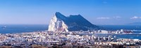 """City with a cliff in the background, Rock Of Gibraltar, Gibraltar, Spain by Panoramic Images - 27"""" x 9"""""""