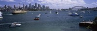 """Boats in the sea with a bridge in the background, Sydney Harbor Bridge, Sydney Harbor, Sydney, New South Wales, Australia by Panoramic Images - 27"""" x 9"""""""