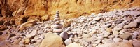"""Stack of stones on the beach, California, USA by Panoramic Images - 27"""" x 9"""", FulcrumGallery.com brand"""