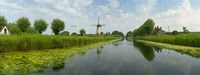 Traditional windmill along with a canal, Damme, Belgium Fine Art Print