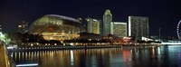 """Esplanade Theater, The Singapore Flyer, Singapore River, Singapore by Panoramic Images - 27"""" x 9"""""""