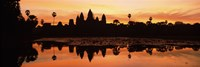 Silhouette of a temple, Angkor Wat, Angkor, Cambodia Fine Art Print