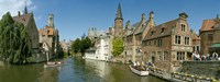 "Buildings at the waterfront, Rozenhoedkaai, Bruges, West Flanders, Belgium by Panoramic Images - 27"" x 9"""
